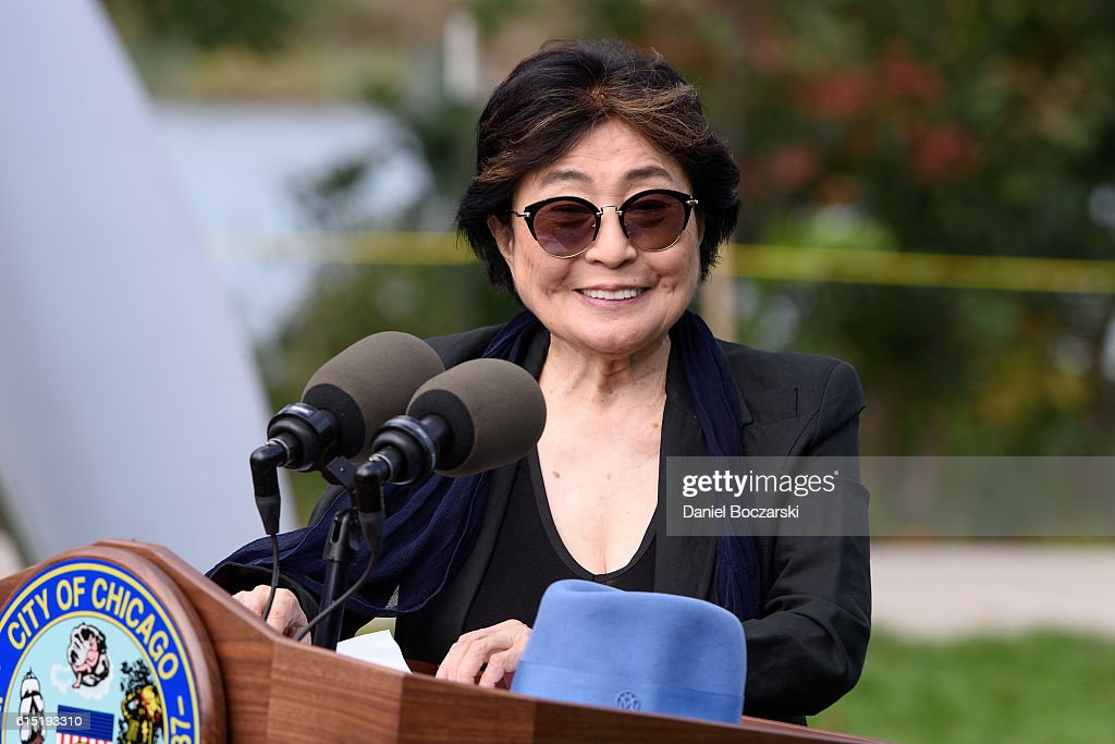 Yoko Ono attends the Project 120 Skylanding art installation unveiling at Jackson Park on October 17, 2016 in Chicago, Illinois.