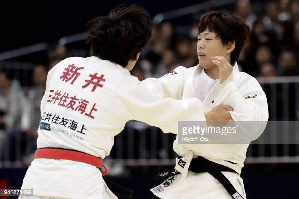 Yoko Ono competes against Chizuru Arai in the Women's 70kg final match on day one of the All Japan Judo Championships by Weight Category at Fukuoka...