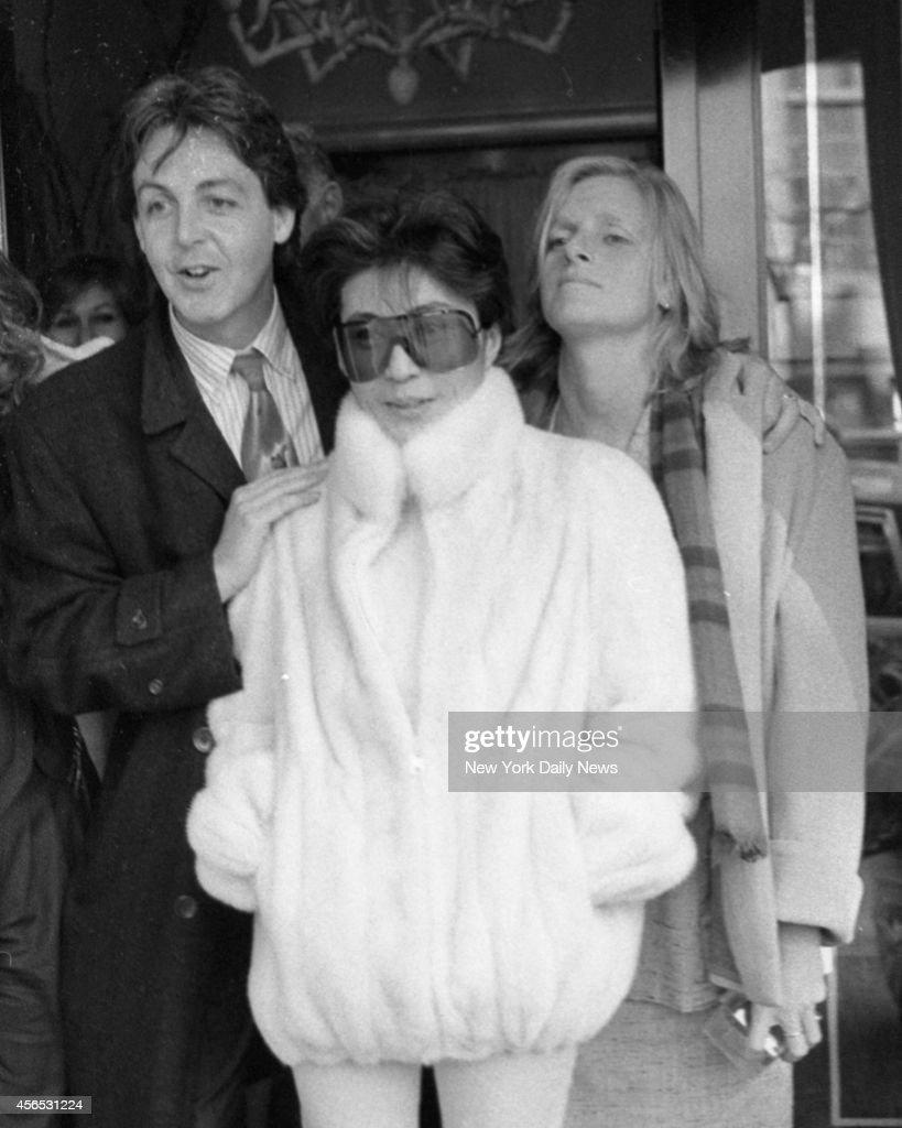 Yoko Ono Is Flanked By Paul McCartney Wife Linda Eastman Outside Restaurant