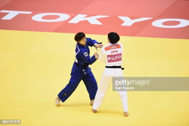Yoko Ono of Japan competes against Chizuru Arai of Japan in the Women's 70kg Final during day two of the Judo Grand Slam Tokyo at Tokyo Metropolitan...