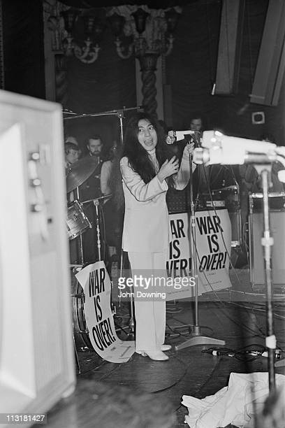 Yoko Ono performing with the Plastic Ono Band at the Lyceum Ballroom London 15th December 1969
