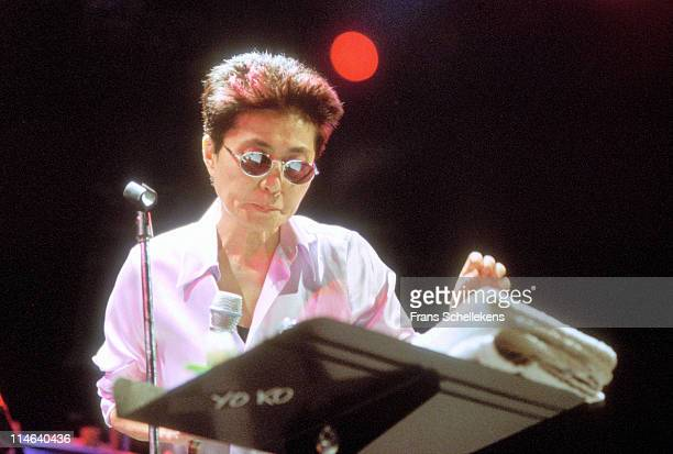 Yoko Ono performs live on stage at Paradiso in Amsterdam, Netherlands on 25th May 1996.
