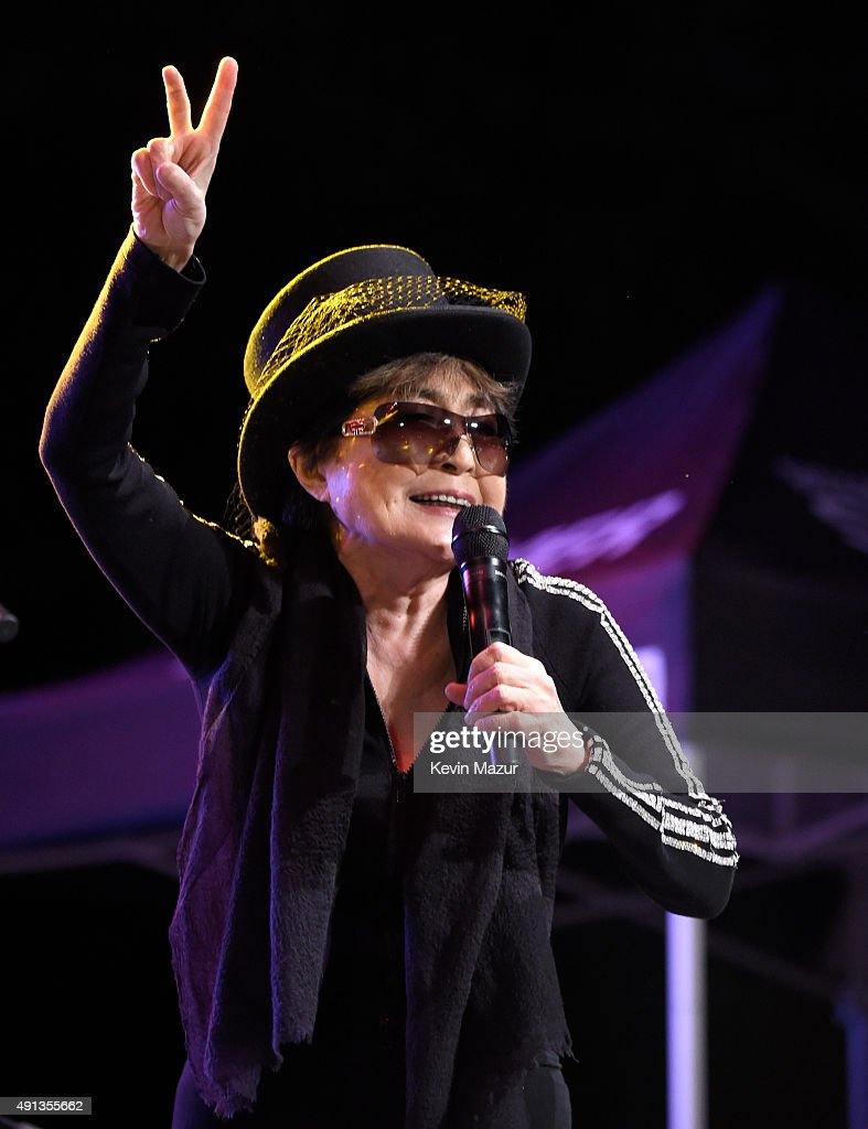 Yoko Ono performs onstage with the Plastic Ono Band during Modern Sky Festival at Rumsey Playfield on October 4, 2015 in New York City.