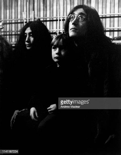 Yoko Ono pictured with Julian and John Lennon at the filming of 'The Rolling Stones Rock and Roll Circus' 11th December 1968
