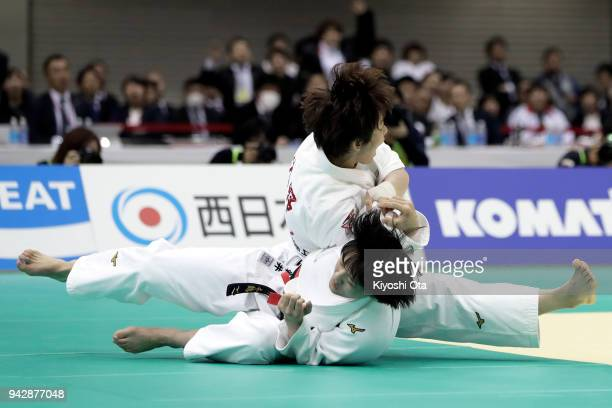 Yoko Ono reacts after throwing Chizuru Arai in the Women's 70kg final match on day one of the All Japan Judo Championships by Weight Category at...