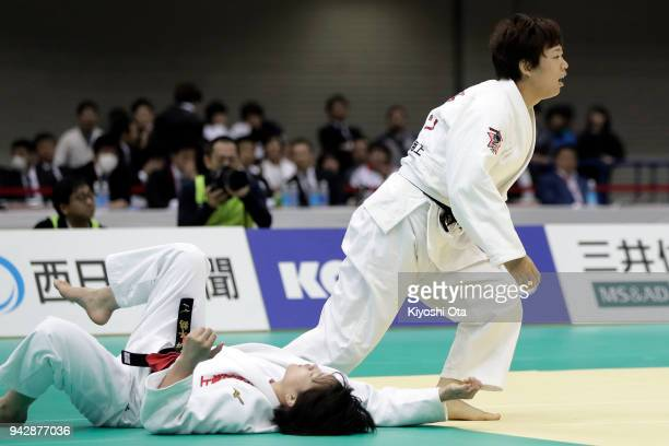 Yoko Ono reacts after winning the Women's 70kg final match against Chizuru Arai on day one of the All Japan Judo Championships by Weight Category at...