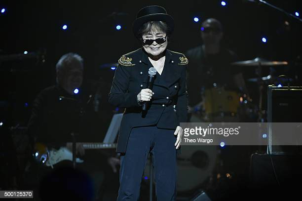 Yoko Ono speaks on stage during the Imagine John Lennon 75th Birthday Concert at The Theater at Madison Square Garden on December 5 2015 in New York...