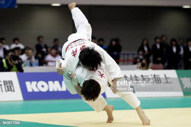 Yoko Ono throws Chizuru Arai in the Women's 70kg final match on day one of the All Japan Judo Championships by Weight Category at Fukuoka Convention...