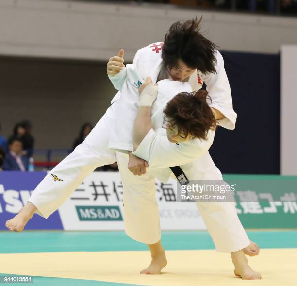 Yoko Ono throws Chizuru Arai in the Women's 70kg final on day one of the All Japan Judo Championships by Weight Category at Fukuoka Convention Center...