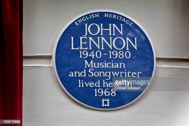 Yoko Ono unveils an English Heritage blue plaque at 34 Montagu Square which in 1968 was the first home Yoko Ono shared with John Lennon while working...