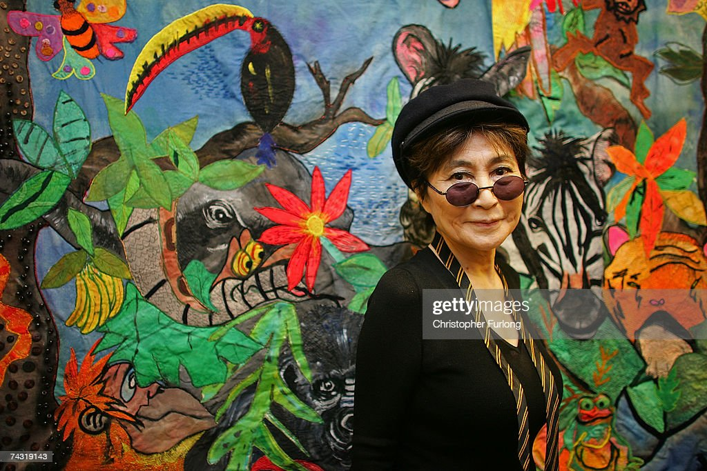 Yoko Ono Views A Piece Of Art Work At Alderhey Childrens Hospital As Guest