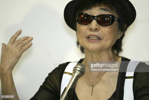 Yoko Ono widow of pop star John Lennon gestures during a press conference at the Haus der Kunst museum in the southern town of Munich 24 September...