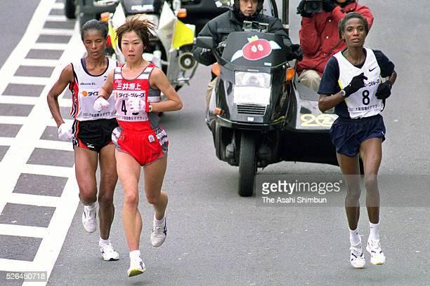 Yoko Shibui of Japan leads during the 20th Osaka Women's Marathon on January 28 2001 in Osaka Japan