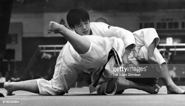 Yoko Tanabe and Rika Yazaki compete in the 72kg final during the 6th Fukuoka International Women's Judo Championships at Fukuoka Convention Center on...