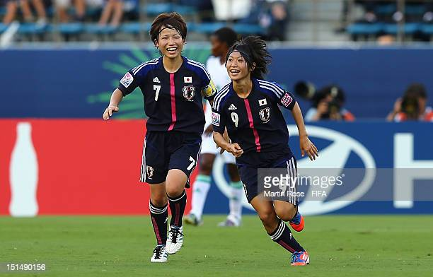 Yoko Tanaka of Japan celebrates after she scores her team's opening goal during the FIFA U20 Women's World Cup Japan 2012 Third place match between...