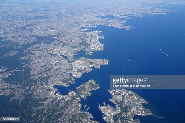 Yokohama and Tokyo bay sky view from airplane