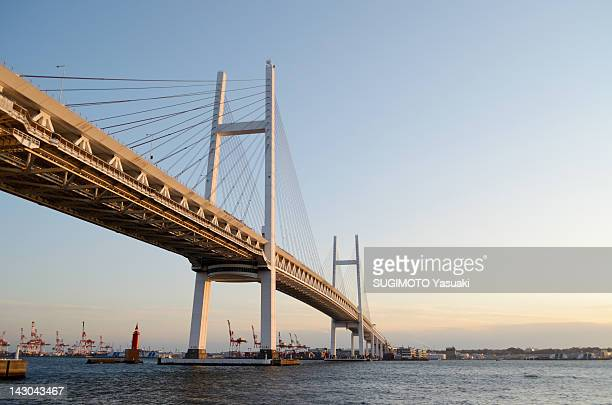 yokohama bay bridge - bay bridge stock pictures, royalty-free photos & images