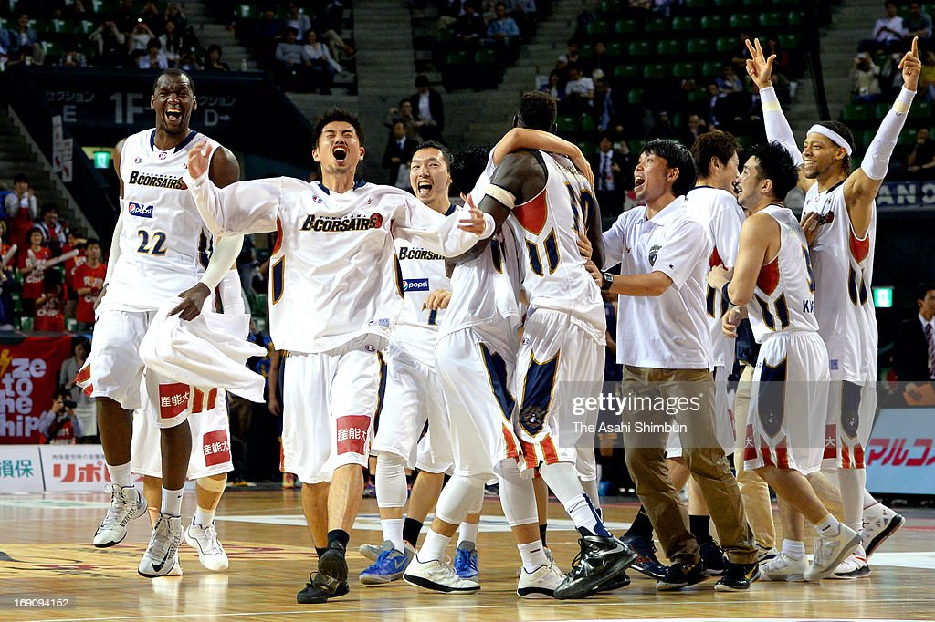 Yokohama B-Corsairs celebrate winning the bj League playoff final between Yokohama B-Corsairs and Rizing Fukuoka at Ariake Colosseum on May 19, 2013 in Tokyo, Japan.