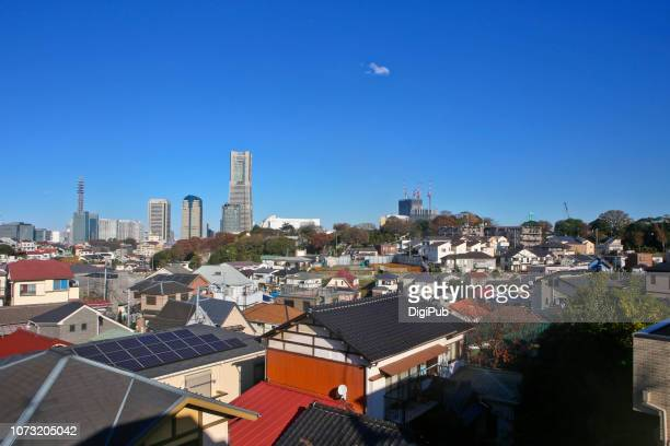 yokohama city under autumn sky - kanagawa prefecture stock pictures, royalty-free photos & images