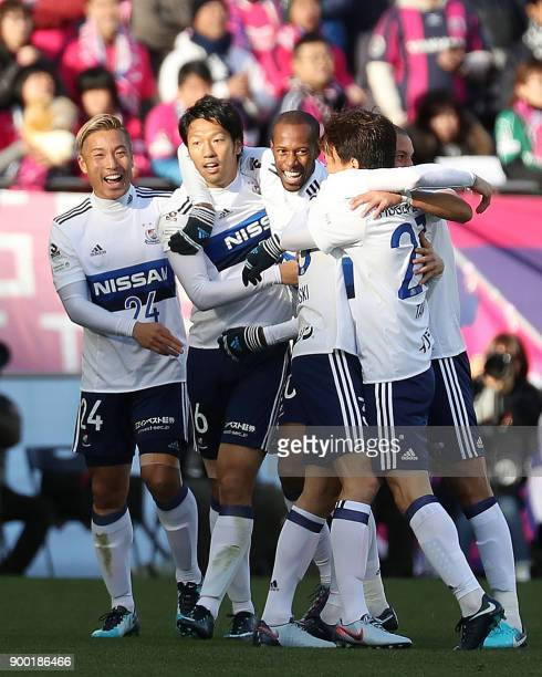 Yokohama F Marinos forward Sho Ito celebrates his goal with teammates during the Emperor's Cup football final between Cerezo Osaka and the Yokohama F...