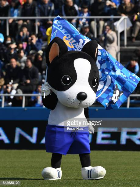 Yokohama FC mascot Catchy Kun performs prior to the JLeague J2 match between Yokohama FC and Matsumoto Yamaga at Nippatsu Mitsuzawa Stadium on...