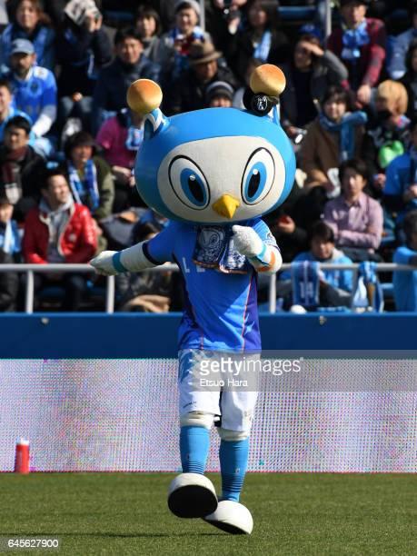 Yokohama FC mascot Fulimaru performs prior to the JLeague J2 match between Yokohama FC and Matsumoto Yamaga at Nippatsu Mitsuzawa Stadium on February...