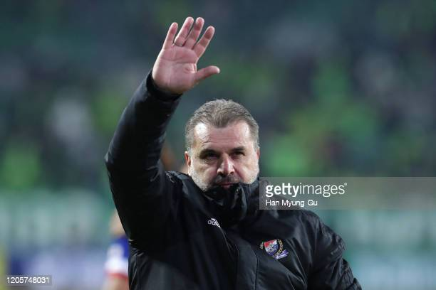 Yokohama F.Marinos head coach Ange Postecoglou celebrates after the AFC Champions League Group H match between Jeonbuk Hyundai Motors and Yokohama...
