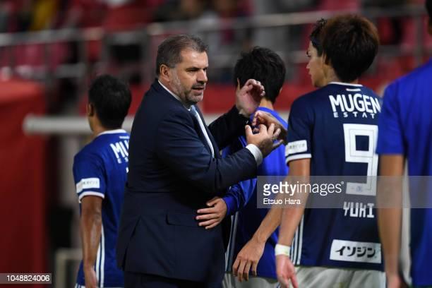 Yokohama FMarinos head coach Ange Postecoglou celebrates his side's 21 victory after the JLeague Levain Cup semi final first leg between Kashima...