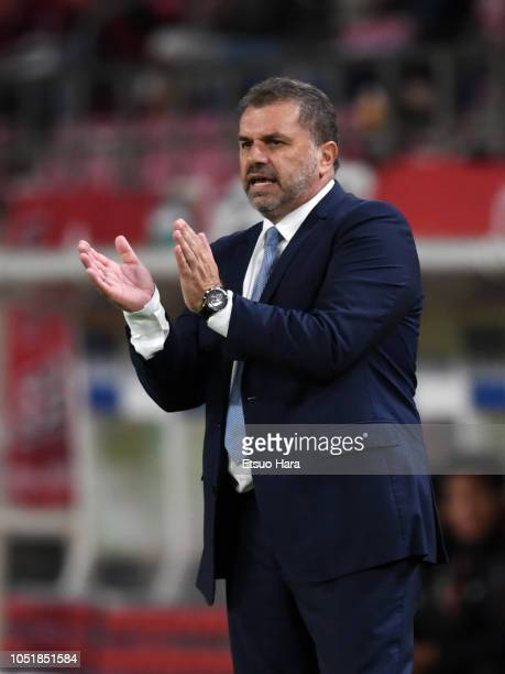 Yokohama FMarinos head coach Ange Postecoglou gestures during the JLeague Levain Cup semi final first leg between Kashima Antlers and Yokohama...