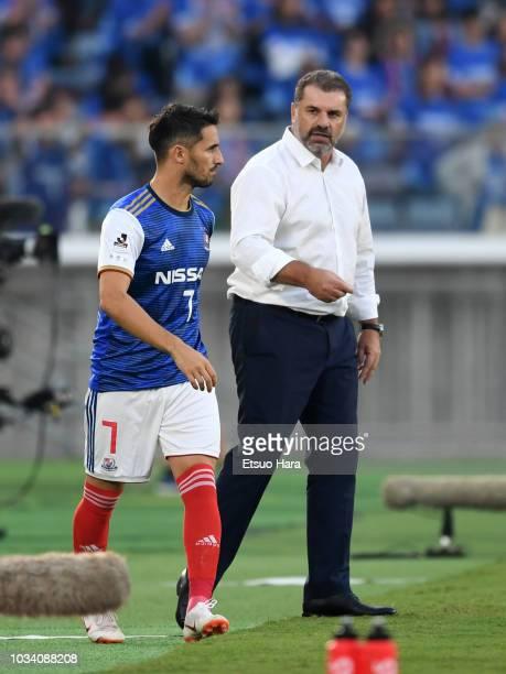 Yokohama FMarinos head coach Ange Postecoglou gives instruction to Hugo Vieira during the JLeague J1 match between Yokohama FMarinos and Urawa Red...