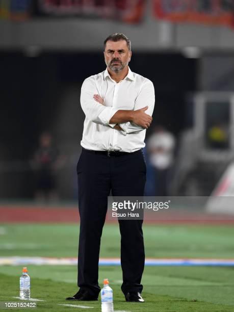 Yokohama FMarinos head coach Ange Postecoglou looks on during the JLeague J1 match between Yokohama FMarinos and Shimizu SPulse at Nissan Stdium on...