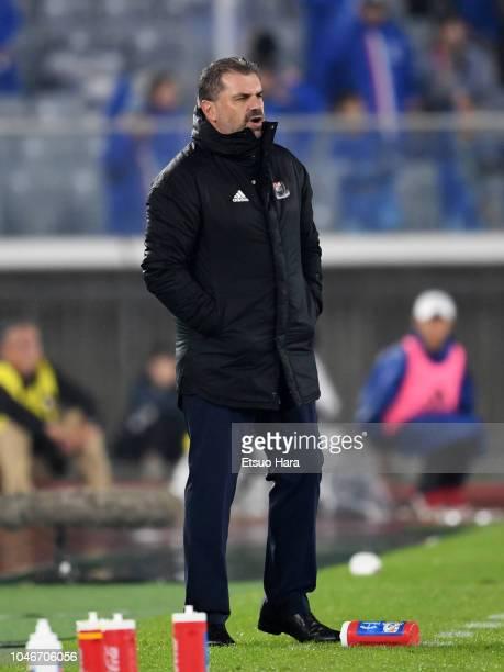 Yokohama FMarinos head coach Ange Postecoglou looks on during the JLeague J1 match between Yokohama FMarinos and Consadole Sapporo at Nissan Stadium...