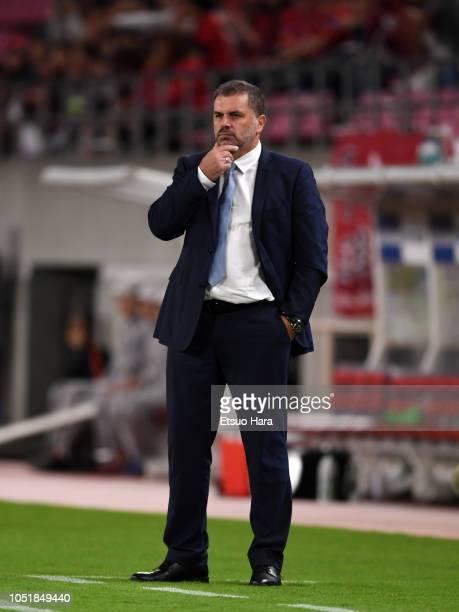 Yokohama FMarinos head coach Ange Postecoglou looks on during the JLeague Levain Cup semi final first leg between Kashima Antlers and Yokohama...