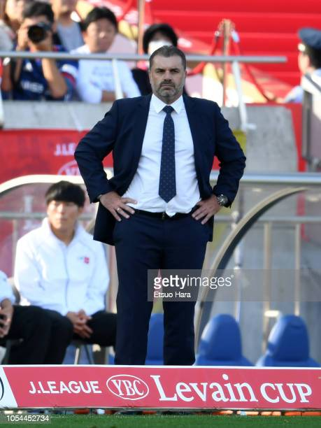 Yokohama FMarinos head coach Ange Postecoglou looks on during the JLeague Levain Cup final between Shonan Bellmare and Yokohama FMarinos at Saitama...