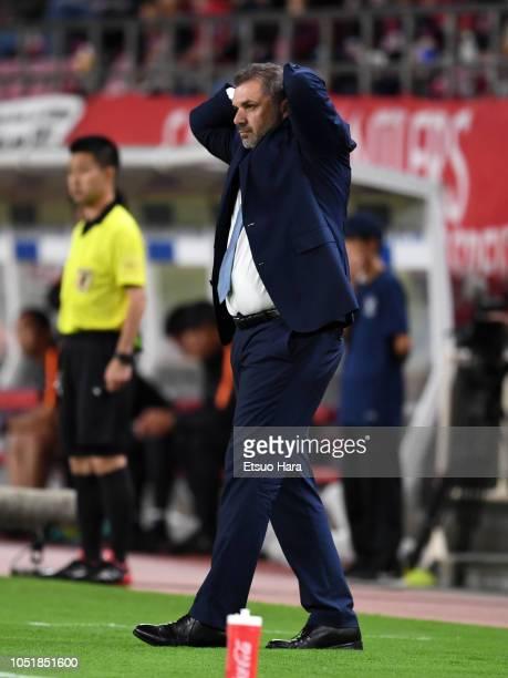 Yokohama FMarinos head coach Ange Postecoglou reacts during the JLeague Levain Cup semi final first leg between Kashima Antlers and Yokohama FMarinos...