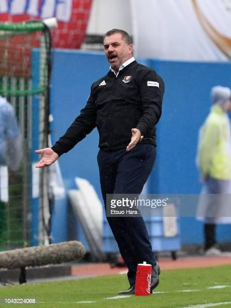 Yokohama FMarinos head coach Ange Postecoglou reacts during the JLeague J1 match between Yokohama FMarinos and Vegalta Sendai at Nippatsu Mitsuzawa...