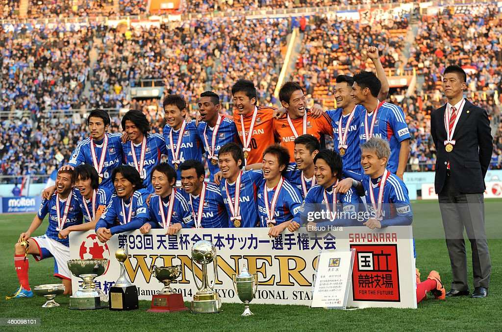 Yokohama F.Marinos players celeberate the win after the 93rd Emperor's Cup final between Yokohama F.Marinos and Sanfrecce Hiroshima at the National Stadium on January 1, 2014 in Tokyo, Japan.