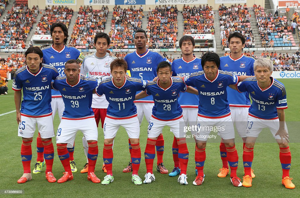 Yokohama F.Marinos players line up for the team photos prior to the J.League match between Shimizu S-Pulse and Yokohama F.Marinos at IAI Stadium Nihondaira on May 16, 2015 in Shizuoka, Japan.