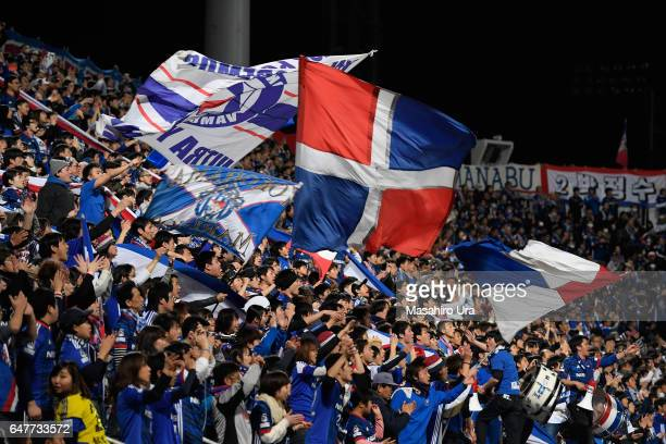 Yokohama FMarinos supporters cheer prior to the JLeague J1 match between Yokohama FMarinos and Consadole Sapporo at Nippatsu Mitsuzawa Stadium on...
