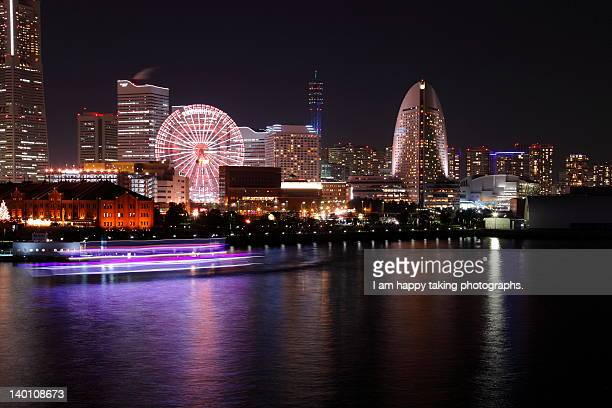 Yokohama harbor at night