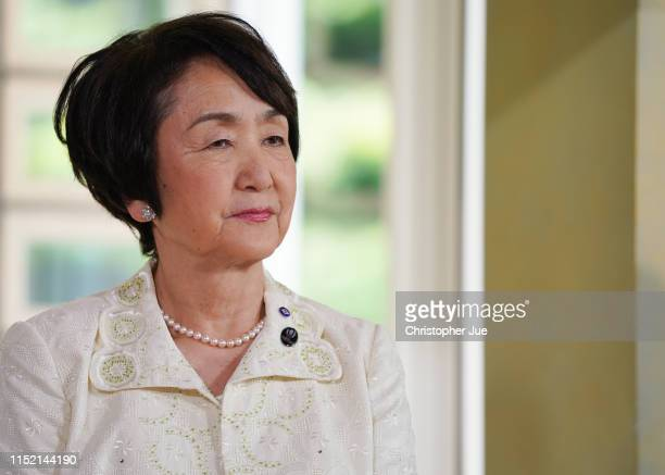Yokohama Japan City Mayor Fumiko Hayashi attends a press conference for the French Film Festival Yokohama 2019 at the French Embassy on May 28 2019...