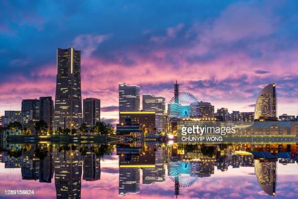 yokohama, japan skyline at minato mirai waterfront district. - kanagawa prefecture stock pictures, royalty-free photos & images