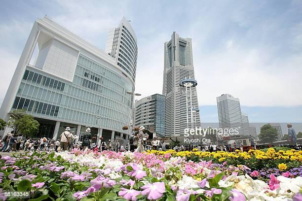 Yokohama Landmark Tower which is the tallest building in Japan is seen in the Minato Mirai area on June 2 2009 in Yokohama Japan Yokohama located a...