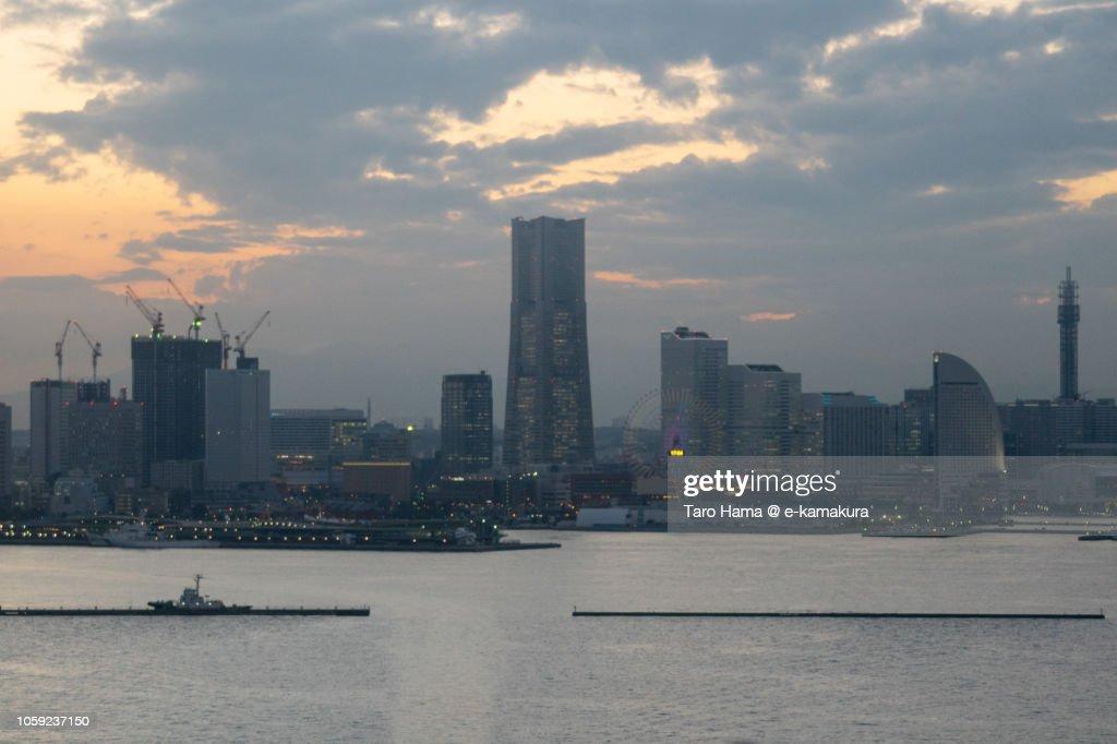 Yokohama Minato Mirai and Yokohama Harbor in the sunset : ストックフォト
