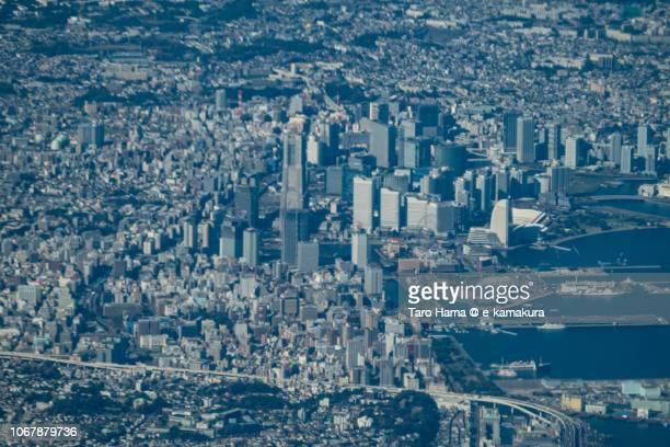 Yokohama Minato Mirai in Yokohama city in Kanagawa prefecture in Japan daytime aerial view from airplane