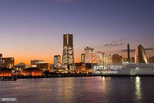 Yokohama minatomirai light up at dusk