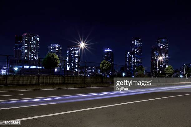 Yokohama night view with light trails of vehicles