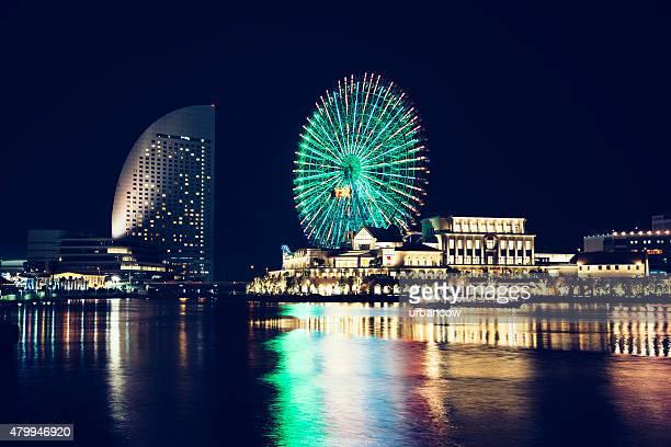 Yokohama skyline at night, reflection on water, Tokyo Bay, Tokyo