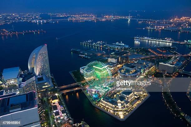 Yokohama skyline at night, Tokyo Bay, Tokyo