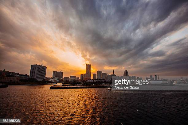 Yokohama skyline at sunset, Japan